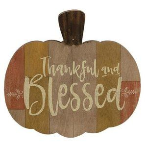 Thankful & Blessed Wooden Pumpkin